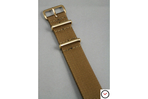 Gold Brown G10 NATO strap, gold buckle and loops