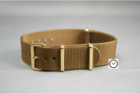 Bracelet nylon NATO Marron Or, boucle or (dorée)