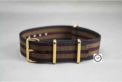 Bracelet nylon NATO Bond Original (Noir Kaki Rouge), boucle or (dorée)