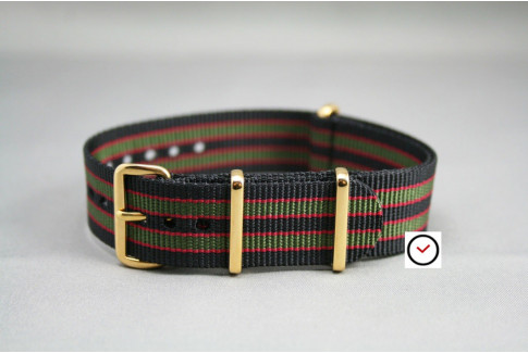 Original Bond G10 NATO strap (Black Green Red), gold buckle and loops