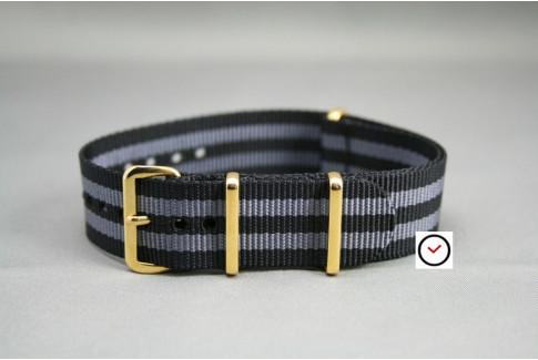 Bracelet nylon NATO Bond Craig (Noir Gris), boucle or (dorée)