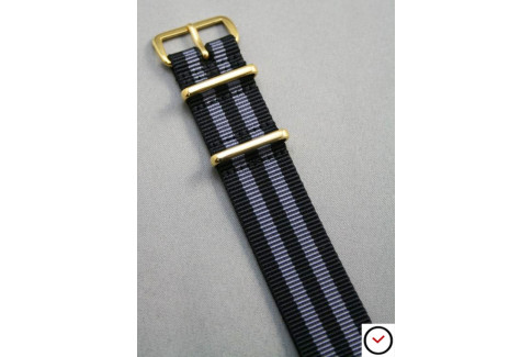 Craig Bond G10 NATO strap (Black Grey), gold buckle and loops