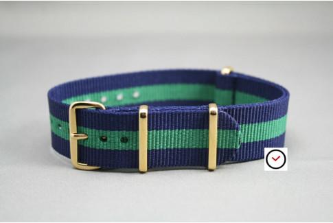 Bracelet nylon NATO Bleu Navy Vert, boucle or (dorée)