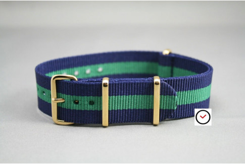 Navy Blue Green G10 NATO strap, gold buckle and loops