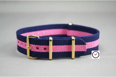 Bracelet nylon NATO Bleu Navy Rose, boucle or (dorée)
