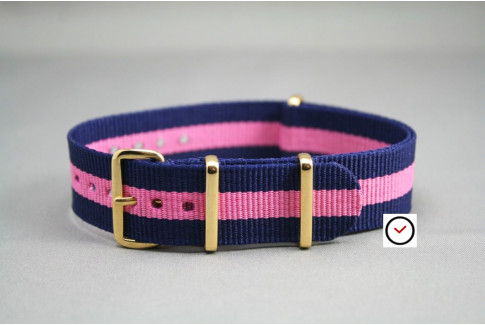 Navy Blue Pink G10 NATO strap, gold buckle and loops