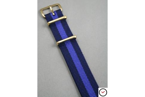 Bracelet nylon NATO Bleu Navy Violet, boucle or (dorée)