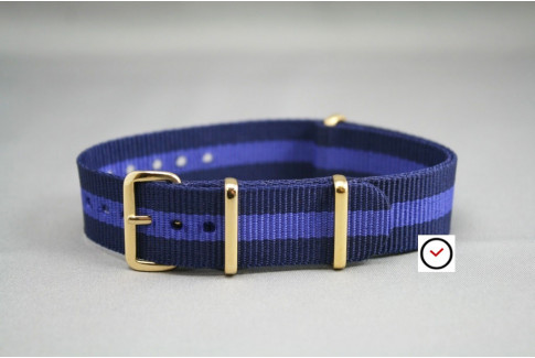 Navy Blue Purple G10 NATO strap, gold buckle and loops