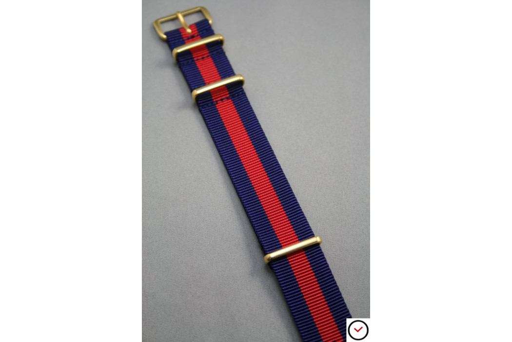 Bracelet nylon NATO Bleu Navy Rouge, boucle or (dorée)