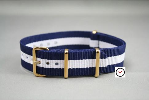 Bracelet nylon NATO Bleu Navy Blanc, boucle or (dorée)