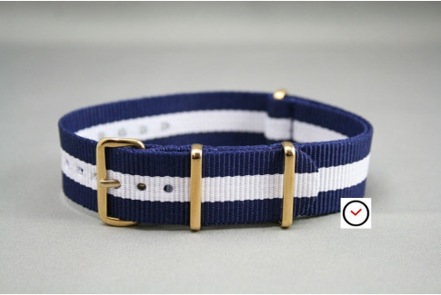 Navy Blue White G10 NATO strap, gold buckle and loops