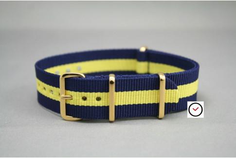 Bracelet nylon NATO Bleu Navy Jaune, boucle or (dorée)