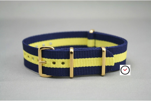 Navy Blue Yellow G10 NATO strap, gold buckle and loops