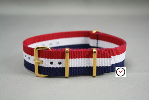 "Blue White Red ""Patriot"" G10 NATO strap, gold buckle and loops"