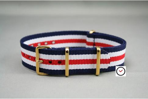 Bracelet nylon NATO Double Bleu Blanc Rouge, boucle or (dorée)