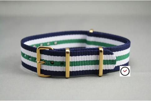 Bracelet nylon NATO Bleu Navy Blanc Vert, boucle or (dorée)