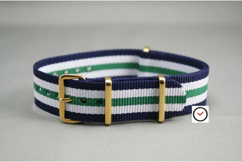 Navy Blue White Green NATO watch strap, gold buckle and loops