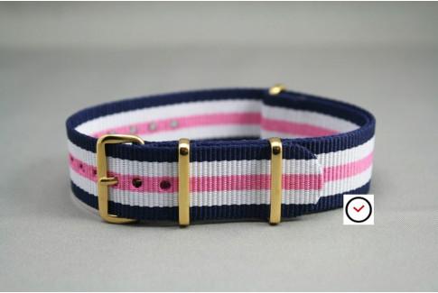 Bracelet nylon NATO Bleu Navy Blanc Rose, boucle or (dorée)