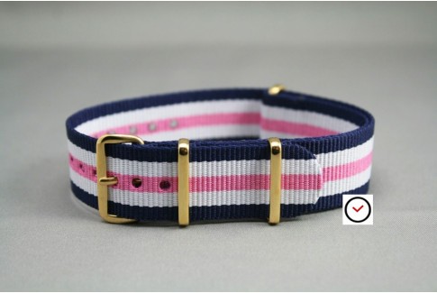 Navy Blue White Pink NATO watch strap, gold buckle and loops