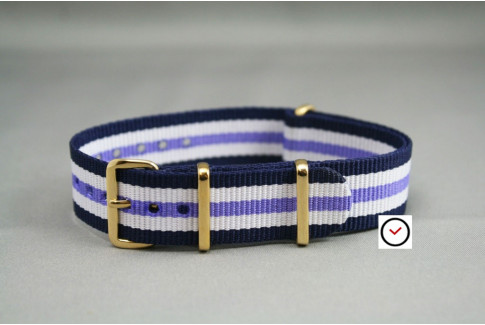 Navy Blue White Purple NATO watch strap, gold buckle and loops