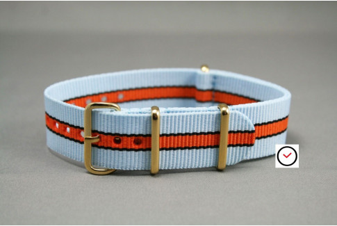 Gulf / Le Mans NATO strap (Blue, Orange, Black), gold buckle and loops