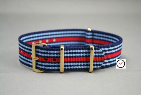 Bracelet nylon NATO Martini Racing (Bleu Ciel, Marine, Rouge), boucle or (dorée)