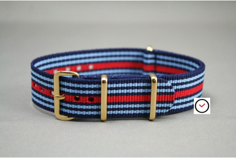 Martini Racing NATO strap (Blue & Red), gold buckle and loops