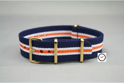 Navy Blue White Orange Heritage G10 NATO strap, gold buckle and loops