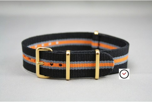 Black Grey Orange Heritage G10 NATO strap, gold buckle and loops