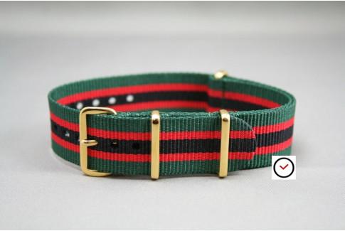 Bracelet nylon NATO Vert Rouge Noir, boucle or (dorée)