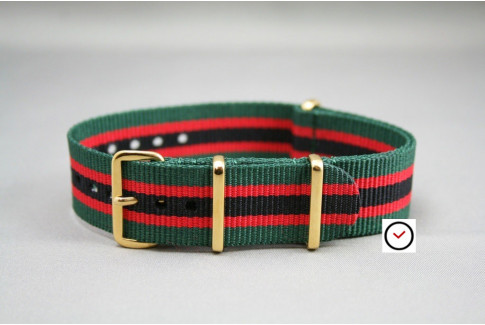 Green Red Black G10 NATO strap, gold buckle and loops