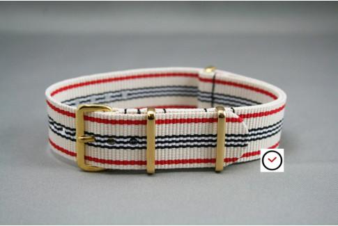 Bracelet nylon NATO Blanc Rouge Noir, boucle or (dorée)