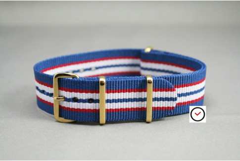 Blue Red White NATO watch strap, gold buckle and loops
