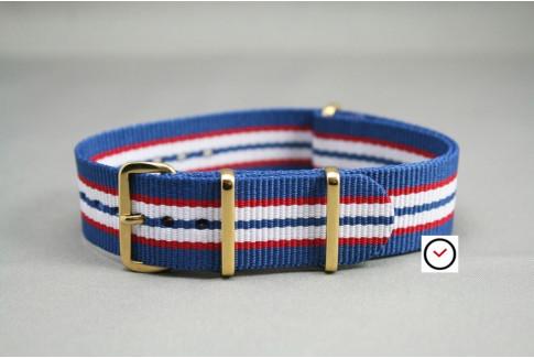 Bracelet nylon NATO Bleu Rouge Blanc, boucle or (dorée)