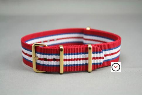 Bracelet nylon NATO Rouge Bleu Blanc, boucle or (dorée)