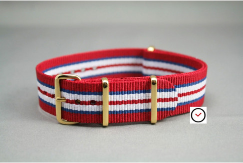 Red Blue White NATO watch strap, gold buckle and loops