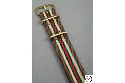 Bracelet nylon NATO Marron Sable Vert Rouge, boucle or (dorée)