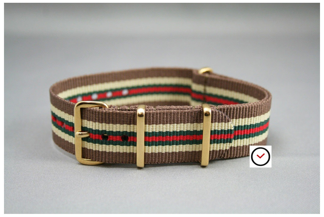 Brown Sandy Beige Green Red G10 NATO strap, gold buckle and loops