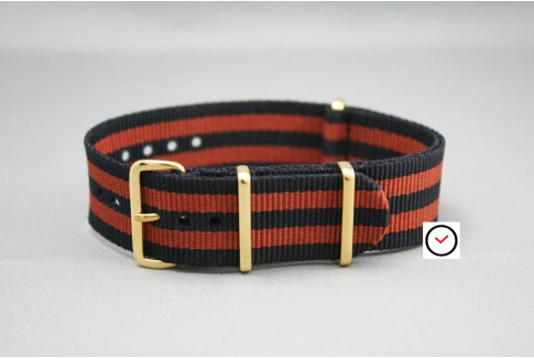 Black Copper Brown James Bond G10 NATO strap (Black Grey), gold buckle and loops