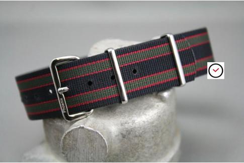 Bracelet montre NATO Phoenix James Bond Original (Goldfinger - Noir Vert Kaki Rouge)