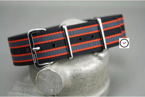 Bracelet montre NATO Phoenix Noir Gris Orange
