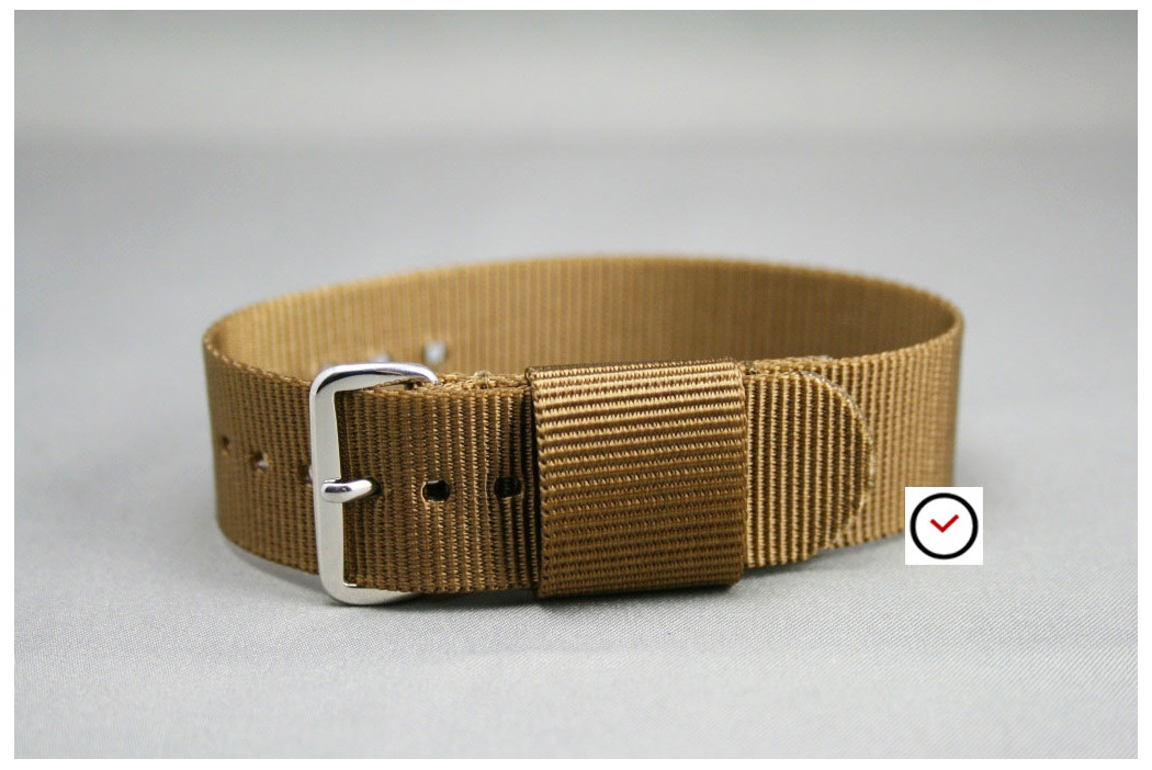 Gold Brown US Military nylon watch strap
