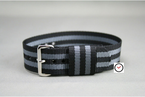 Craig Bond US Military nylon watch strap (Black Grey)