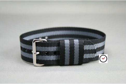 Craig Bond US Military nylon watch strap (Black Grey)