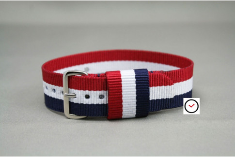 Blue White Red (French Flag) US Military nylon watch strap