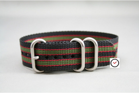 Original Bond ZULU nylon strap - Black Green Red (highly resistant fabric)