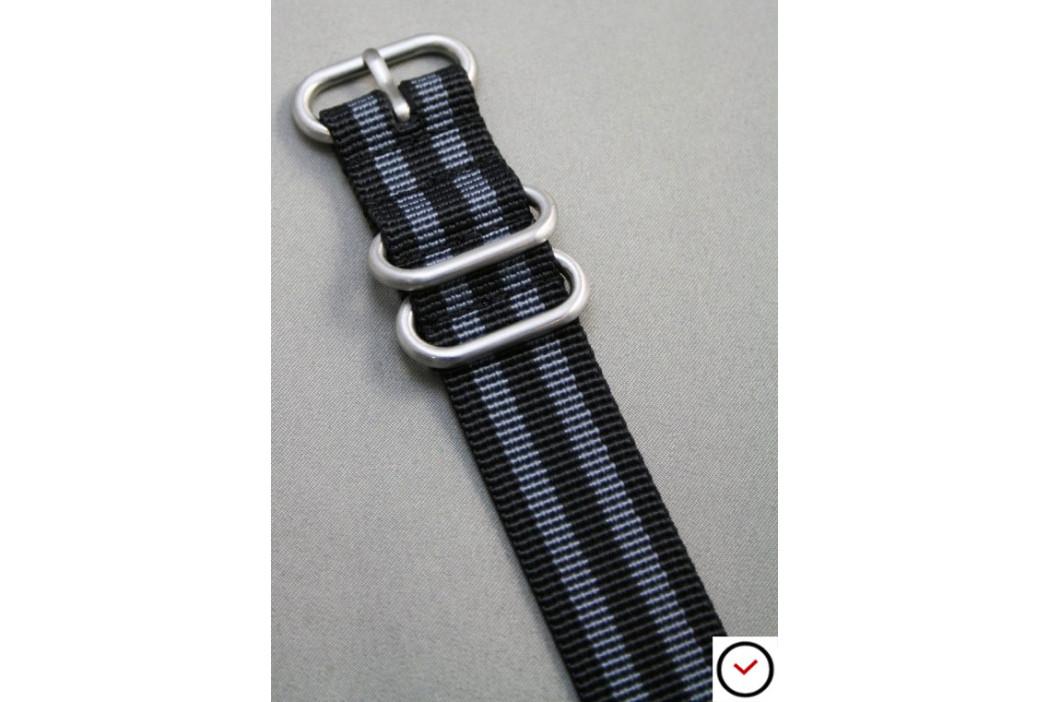 Bracelet nylon ZULU Bond Craig (Noir Gris)
