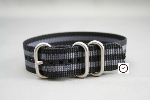Craig Bond ZULU nylon strap - Black Grey (highly resistant fabric)