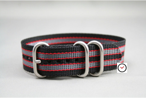 Black Grey Red James Bond ZULU strap (highly resistant fabric)
