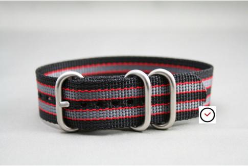 Bracelet nylon ZULU Bond Noir Gris Rouge